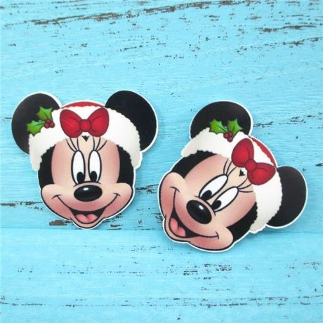 5 x 45MM NEW MINNIE MOUSE XMAS CHRISTMAS LASER CUT FLAT BACK HEADBANDS HAIR BOWS